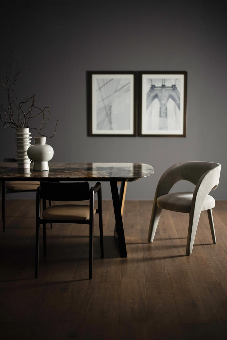 Contemporary 21st Century Modern Laurence Chair with Armrests Nubuck Handcrafted Greenapple For Sale