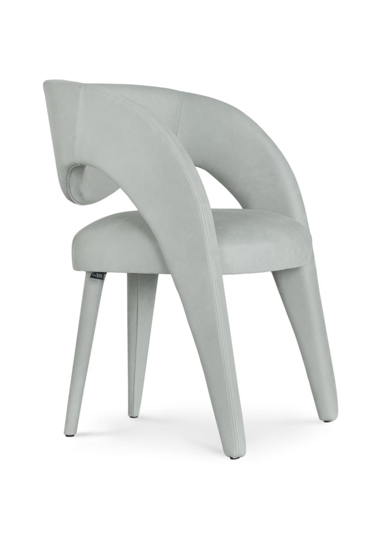 21st Century Modern Laurence Chair with Armrests Velvet Handcrafted Greenapple For Sale 3