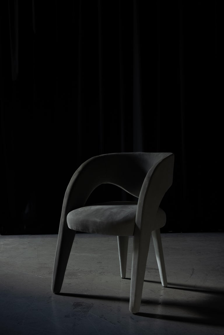 21st Century Modern Laurence Chair with Armrests Velvet Handcrafted Greenapple For Sale 4