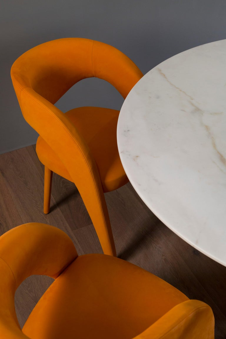 Leather 21st Century Modern Laurence Chair with Armrests Velvet Handcrafted Greenapple For Sale