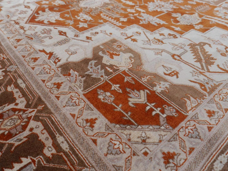 21st Century Modern Luxury Indian Rug with Herz Design Centemporary Colors For Sale 3