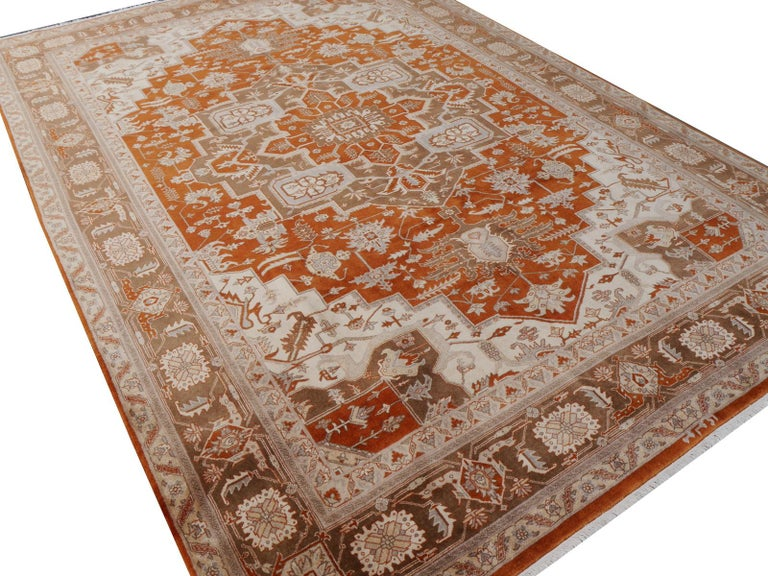 21st Century Modern Luxury Indian Rug with Herz Design Centemporary Colors For Sale 5