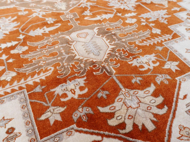 21st Century Modern Luxury Indian Rug with Herz Design Centemporary Colors For Sale 8