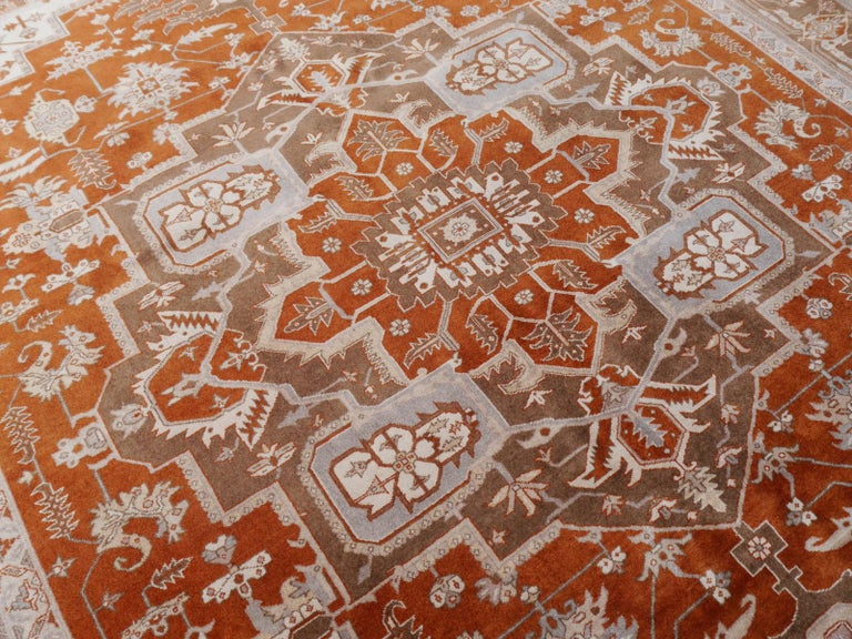 21st Century Modern Luxury Indian Rug with Herz Design Centemporary Colors For Sale 9