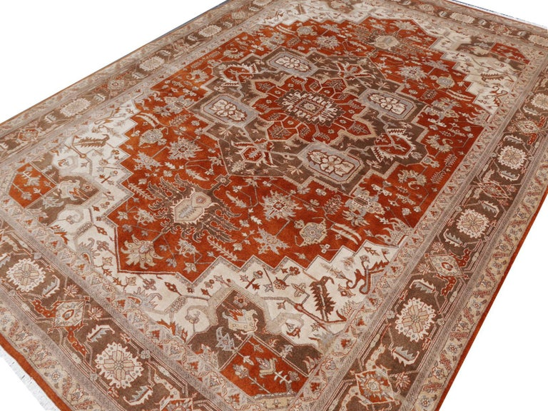 21st Century Modern Luxury Indian Rug with Herz Design Centemporary Colors For Sale 11