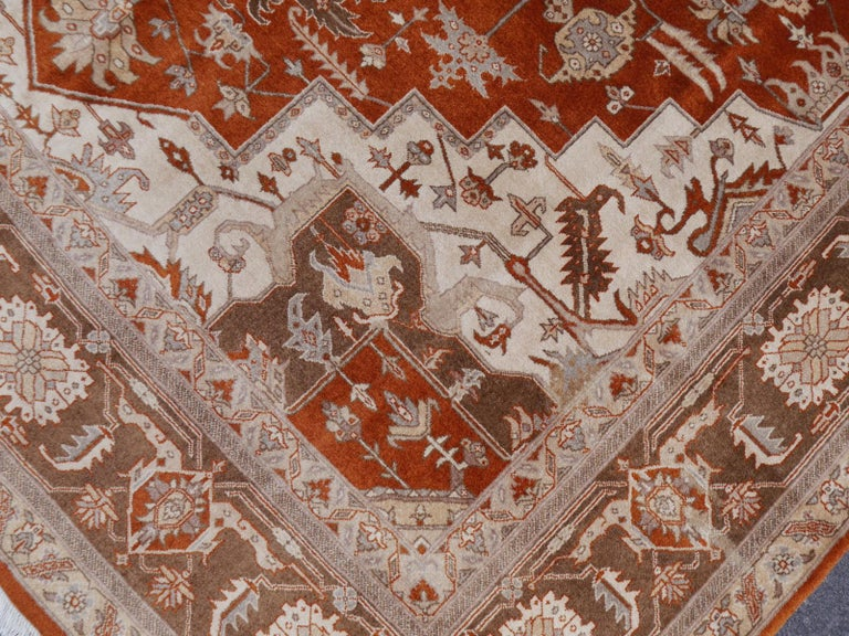 21st Century Modern Luxury Indian Rug with Herz Design Centemporary Colors For Sale 12