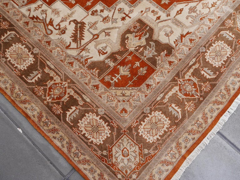 Hand-Knotted 21st Century Modern Luxury Indian Rug with Herz Design Centemporary Colors For Sale