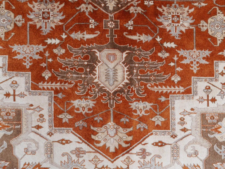 Contemporary 21st Century Modern Luxury Indian Rug with Herz Design Centemporary Colors For Sale
