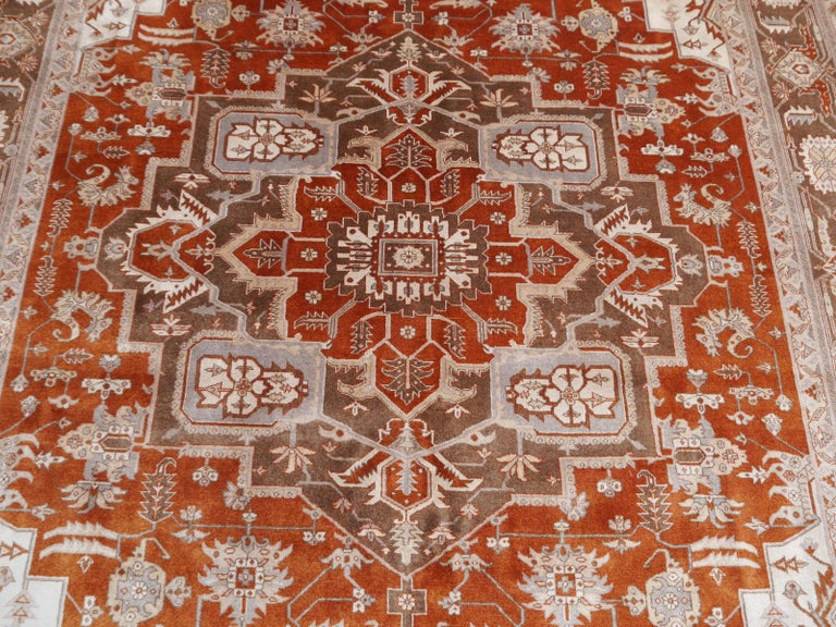 Wool 21st Century Modern Luxury Indian Rug with Herz Design Centemporary Colors For Sale