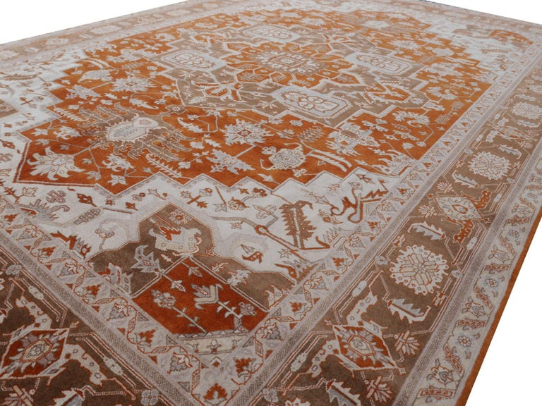 21st Century Modern Luxury Indian Rug with Herz Design Centemporary Colors For Sale 1