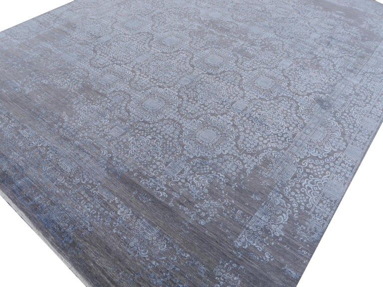 Hand-Knotted 21st Century Modern Luxury Rug Wool Bamboo Silk Hand Knotted Blue Grey For Sale