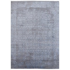 21st Century Modern Luxury Rug Wool Bamboo Silk Hand Knotted Blue Grey