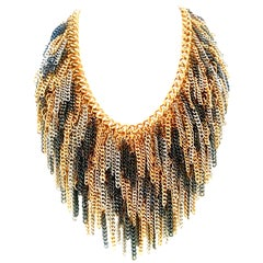 21st Century Modern Metal Chain Link 3-Tone Fringe Necklace