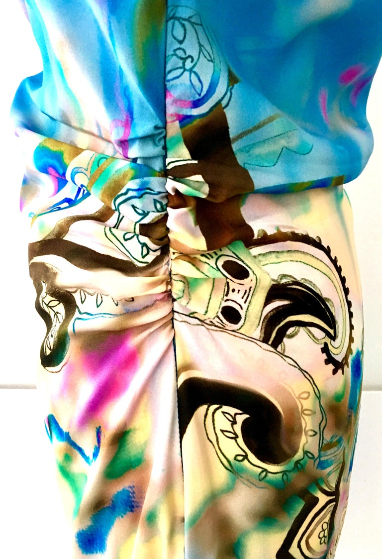 21st Century Modern & New Italian Silk Print Shift Dress By, Etro Size 8 For Sale 5