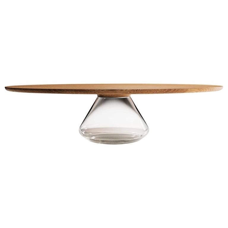 """Clear Eclipse"" 21st Century Modern Coffee Table Ft. Oak Glass by Grzegorz Majka For Sale"