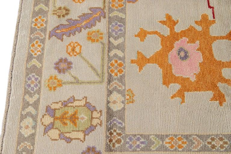 21st Century Modern Oushak Wool Rug For Sale 4