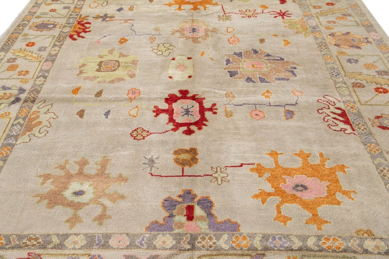 21st Century Modern Oushak Wool Rug In New Condition For Sale In Norwalk, CT