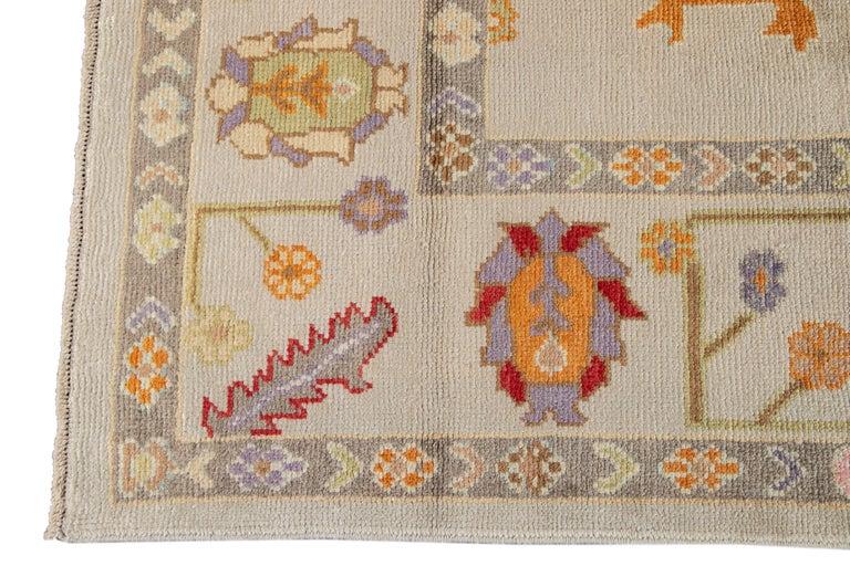 21st Century Modern Oushak Wool Rug For Sale 1