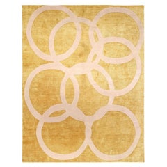 21st Century Modern Quantum Circles Handmade Rug in Beige and Gold