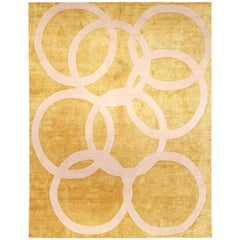 21st Century Modern Quantum Circles Handmade Silk and Wool Rug in Beige and Gold