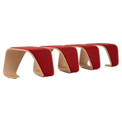 21st Century Modern Red 3 Wooden Seater Upholstered Bench DNA