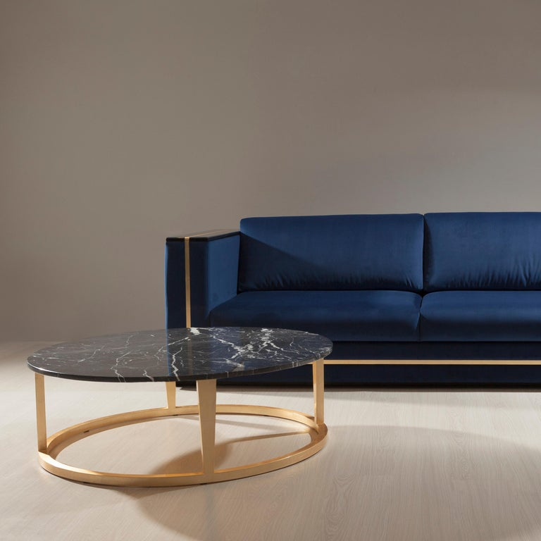 21st century contemporary art deco Rubi coffee table Nero Marquina marble handcrafted in Portugal - Europe by Greenapple.   Rubi coffee table materials  Round coffee table with top in polished Nero Marquina marble. Wooden base structure with gold