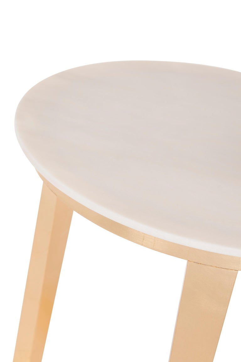 Gilt 21st Century Art Deco Rubi Side Table Handcrafted in Portugal by Greenapple For Sale