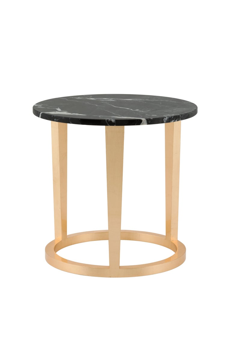 Travertine 21st Century Art Deco Rubi Side Table Handcrafted in Portugal by Greenapple For Sale