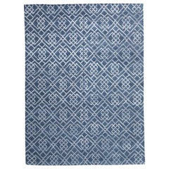 21st Century Modern Silk and Wool Rug, Geometric Design in Gray and Blue Colors