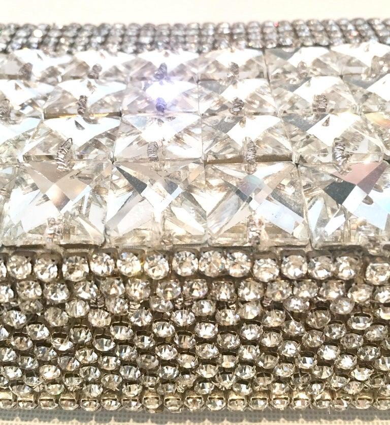 21st Century Modern Silver Metallic Swarovski Crystal Rhinestone Evening Bag For Sale 5
