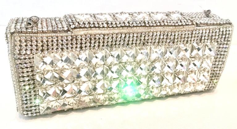 Beige 21st Century Modern Silver Metallic Swarovski Crystal Rhinestone Evening Bag For Sale