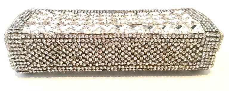 Women's or Men's 21st Century Modern Silver Metallic Swarovski Crystal Rhinestone Evening Bag For Sale