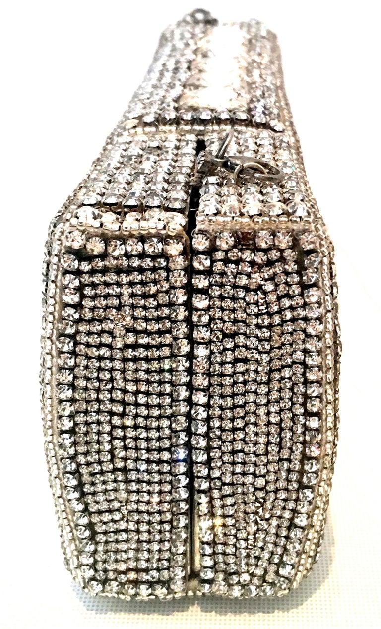 21st Century Modern Silver Metallic Swarovski Crystal Rhinestone Evening Bag For Sale 2