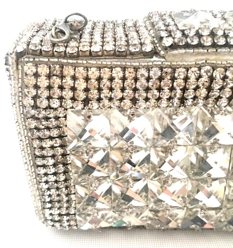21st Century Modern Silver Metallic Swarovski Crystal Rhinestone Evening Bag For Sale 3