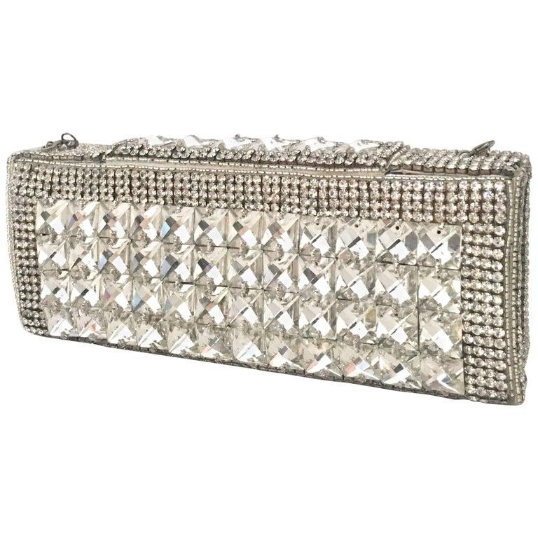 21st Century Modern Silver Metallic Swarovski Crystal Rhinestone Evening Bag For Sale