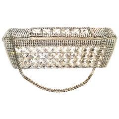 21st Century Modern Silver Metallic Swarovski Crystal Rhinestone Evening Bag