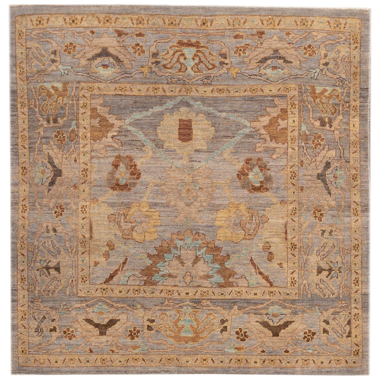 21st Century Modern Square Sultanabad Rug