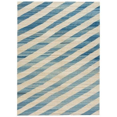 21st Century Modern Striped Flat-Weave Kilim Rug