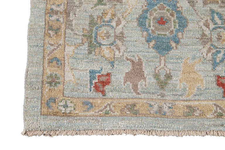 Blue Long Modern Sultanabad Wool Runner For Sale 4