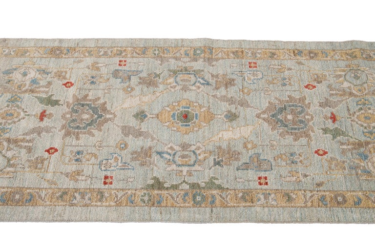 Blue Long Modern Sultanabad Wool Runner For Sale 5