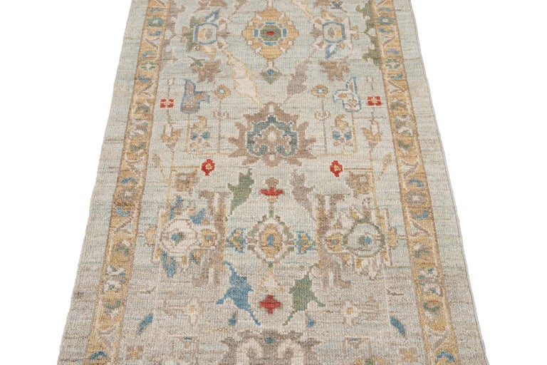 Blue Long Modern Sultanabad Wool Runner For Sale 6