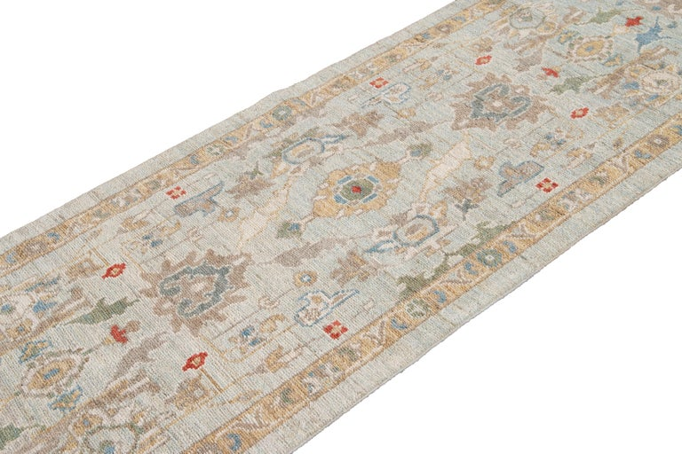 Blue Long Modern Sultanabad Wool Runner For Sale 7