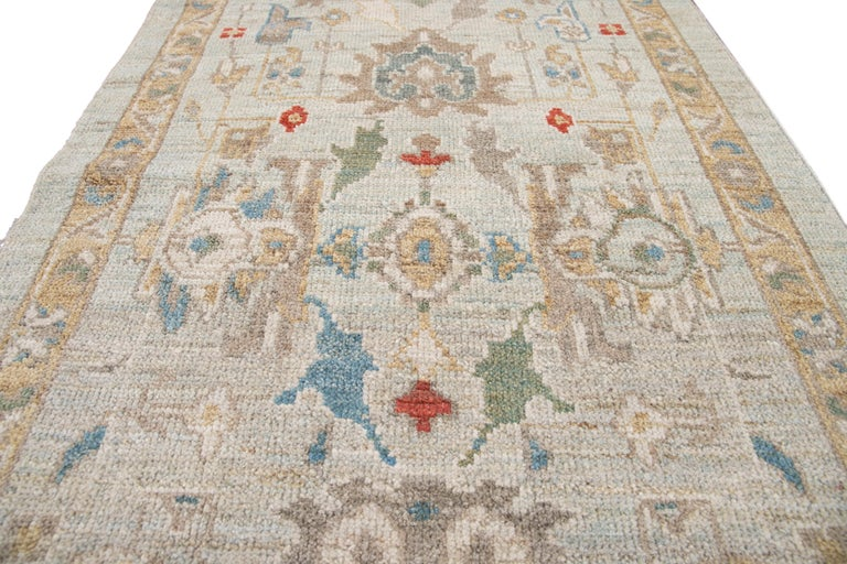 Blue Long Modern Sultanabad Wool Runner For Sale 8