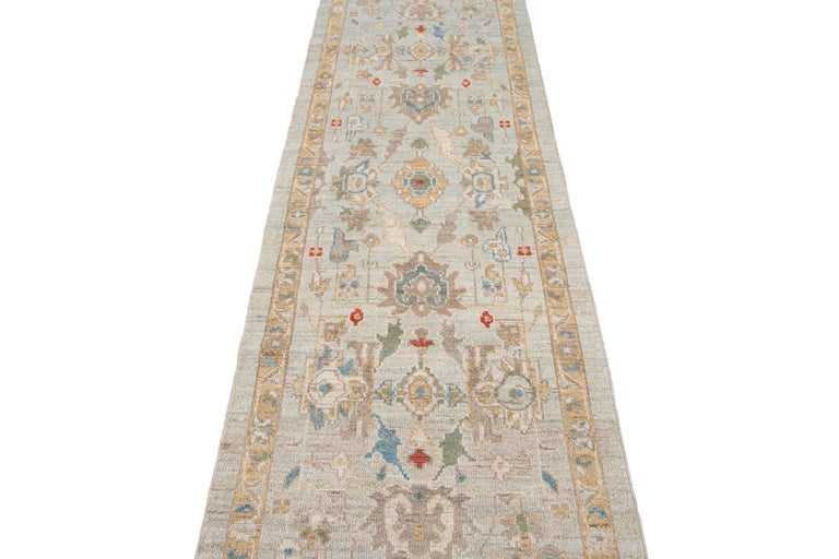 Blue Long Modern Sultanabad Wool Runner For Sale 9