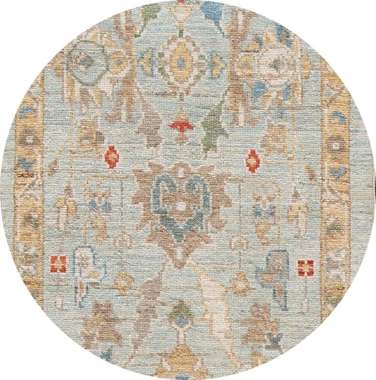 Beautiful contemporary Sultanabad runner, hand-knotted wool with a blue field, goldenrod, blue, and red accents in all-over Classic floral medallion design.  This rug measures: 2'10