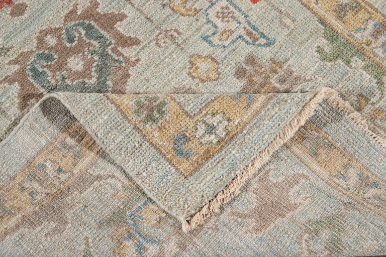Asian Blue Long Modern Sultanabad Wool Runner For Sale