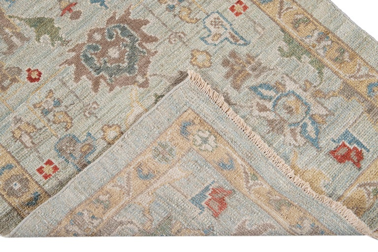 Hand-Knotted Blue Long Modern Sultanabad Wool Runner For Sale