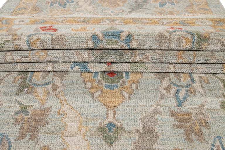 Blue Long Modern Sultanabad Wool Runner In New Condition For Sale In Norwalk, CT