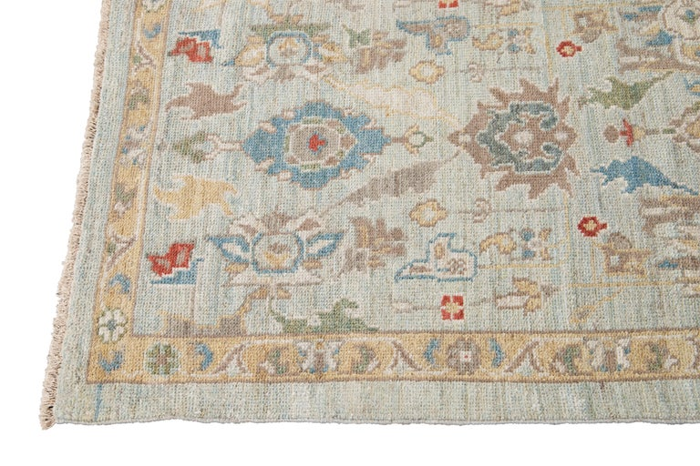 Contemporary Blue Long Modern Sultanabad Wool Runner For Sale