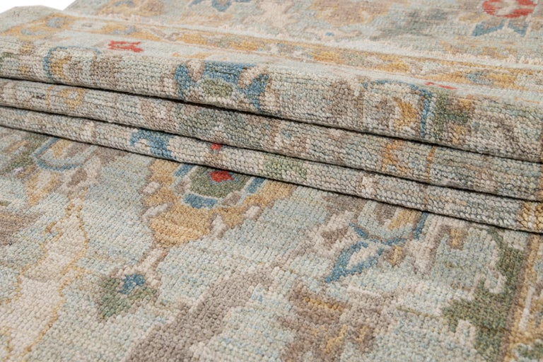 Blue Long Modern Sultanabad Wool Runner For Sale 1